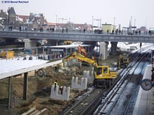 Gewusel auf der Baustelle am Bahnsteig D