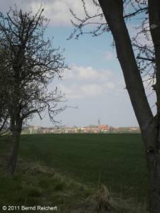 Penkun (Uecker-Randow), Annäherung an die Stadt von Schönfeld aus, aufgenommen am 16.04.2011