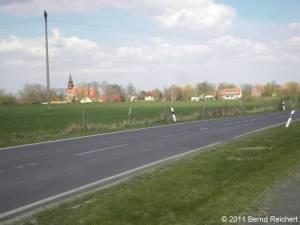 Wollin (Uecker-Randow), Annäherung von Penkun aus, aufgenommen am 16.04.2011