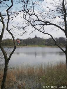 Wollin (Uecker-Randow), Rückblick über den Teich, aufgenommen am 16.04.2011