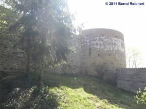 Wehrturm in der Stadtmauer in Gartz (Oder), aufgenommen am 18.04.2011