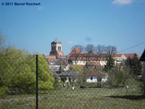 Gartz (Oder), Blick von der Gartenstraße in Richtung zur Innenstadt, aufgenommen am 18.04.2011