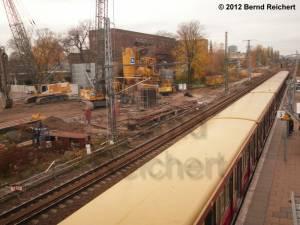 20121110-13 - Blick auf die Tunnelbaustelle zwischen Ferngleisen und Markgrafendamm