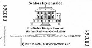 20110108-061 - Eintrittskarte Schloss Freienwalde