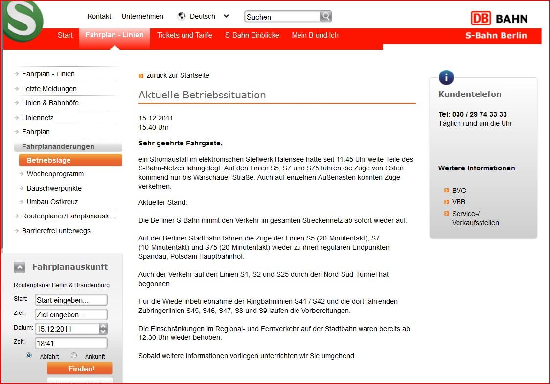 Störungsanzeige auf der S-Bahn-Webpage vom 15.12.2011, 15:40 Uhr, wird noch am 16.12.2011 um 05:55 Uhr angezeigt