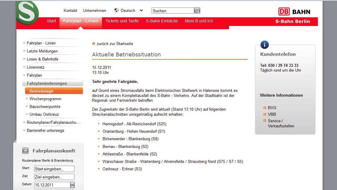 Störungsanzeige auf der Web-Page der S-Bahn Berlin GmbH, Screenshot erstellt ca. 15:00 Uhr