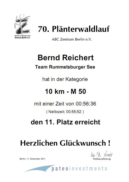 Meine Urkunde vom Plänterwaldlauf
