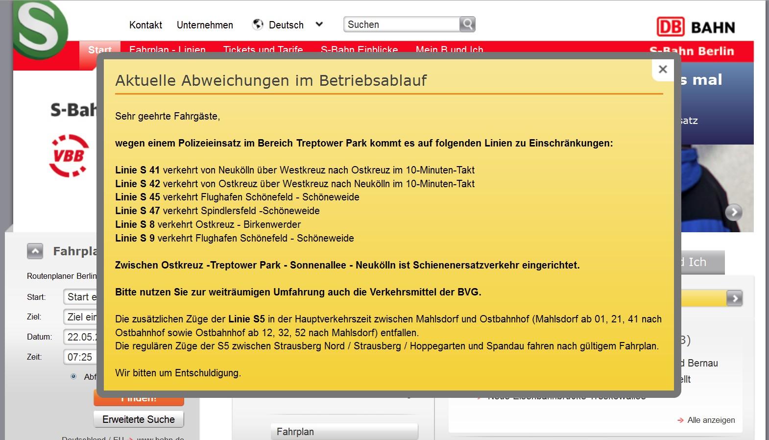 Störungsmeldung auf der Webpage der S-Bahn Berlin GmbH am 22.05.2012, ca. 07:30 Uhr