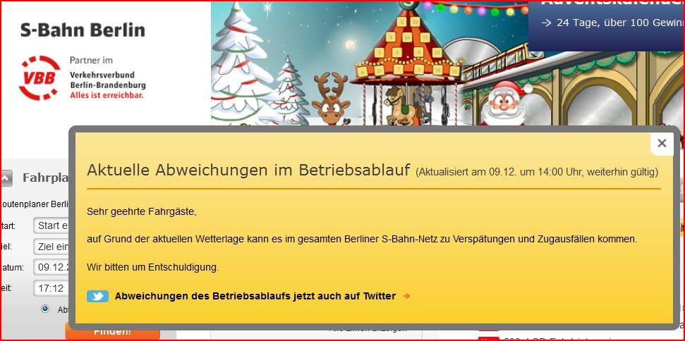 Allgemeine Störungslagemeldung der S-Bahn Berlin am 09.12.2012, ca. 17:20