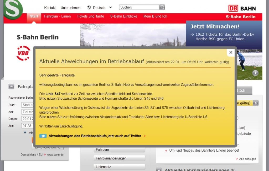 Störungsmeldung auf der Webpage der S-Bahn Berlin GmbH am 22.01.2013, ca. 07:00 Uhr