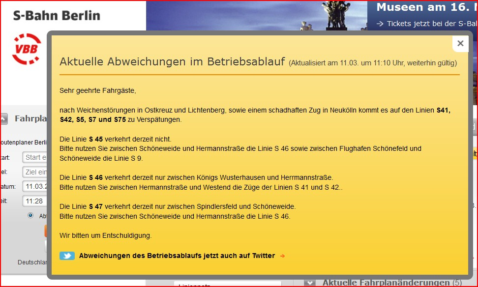 Störungsmeldung der S-Bahn Berlin GmbH auf ihrer Webpage am 11.03.2013, ca. 11:30 Uhr
